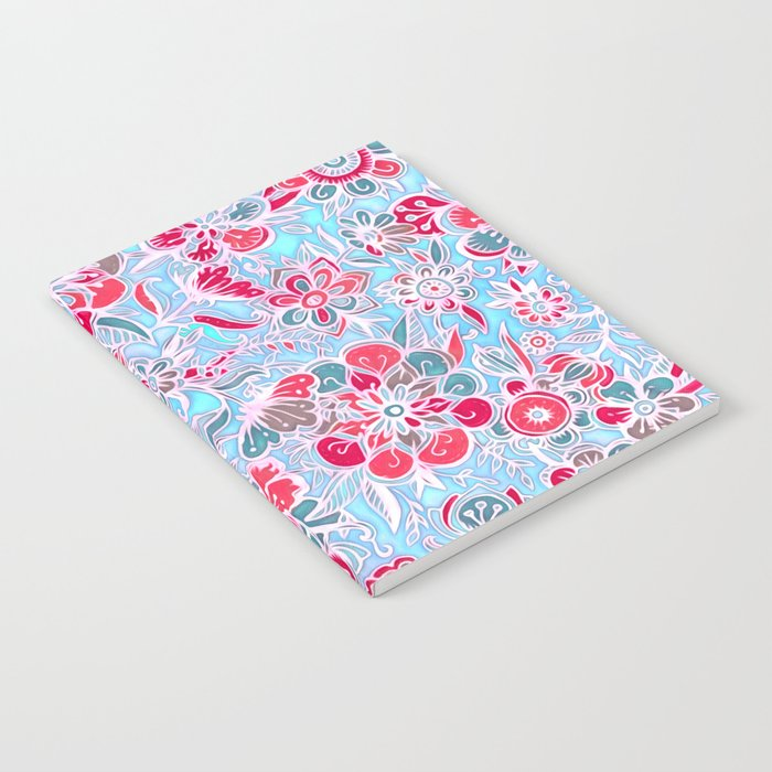 Sweet Spring Floral - cherry red & bright aqua Notebook