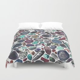 MIXED GEMSTONES ON WHITE Duvet Cover