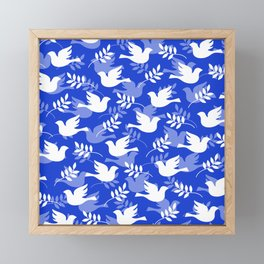 Hanukkah Doves Of Peace Pattern With Olive Branches Framed Mini Art Print
