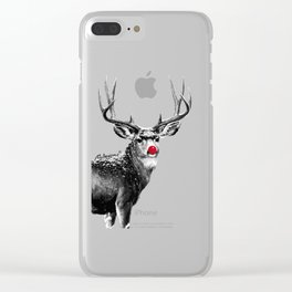 Christmas - Red Nose Reindeer Clear iPhone Case