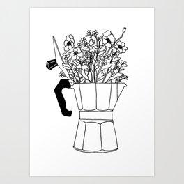 Moka Flowers - Coffee- BW Art Print