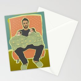 Father with Twins Stationery Cards