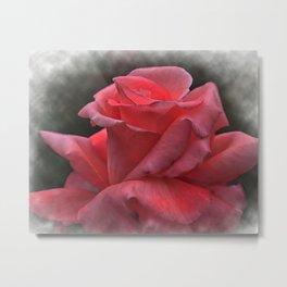 A Pink Rose Bud In Watercolor Metal Print
