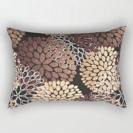 Copper Dahlia Floral Pattern Rectangular Pillow