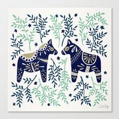 Swedish Dala Horse – Navy & Mint Palette Canvas Print