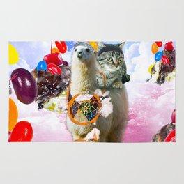 Cat Riding Llama With Sundae And Jelly Beans Rug