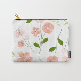 Pink Coral Floral Watercolor Pattern Carry-All Pouch