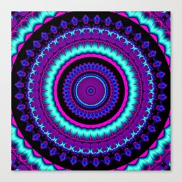 turquoise purple Mandala Canvas Print