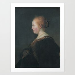 A Young Woman in Profile, with a Fan Art Print