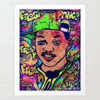 fresh prince Art Prints featuring FRESH PRINCE by AZZURRA DESIGNS