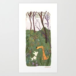 Flower Park Dogs Art Print