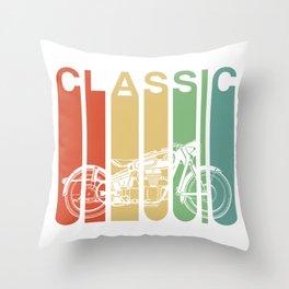 Retro Vintage Motorcycle Gift For Men Classic Biker Gift Throw Pillow