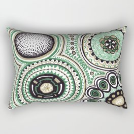 Green and Gold Rings Rectangular Pillow