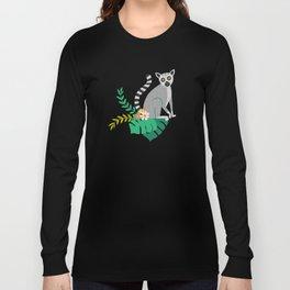 Lemurs in Teal Jungle Long Sleeve T-shirt