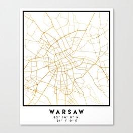 WARSAW POLAND CITY STREET MAP ART Canvas Print