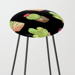 watercolor cacti on black background Counter Stool