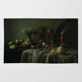 Still life with metal dishes, fruits and fresh flowers Rug