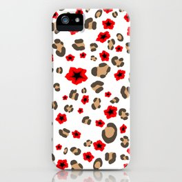 Romantic Leopard Print and Flowers on White iPhone Case