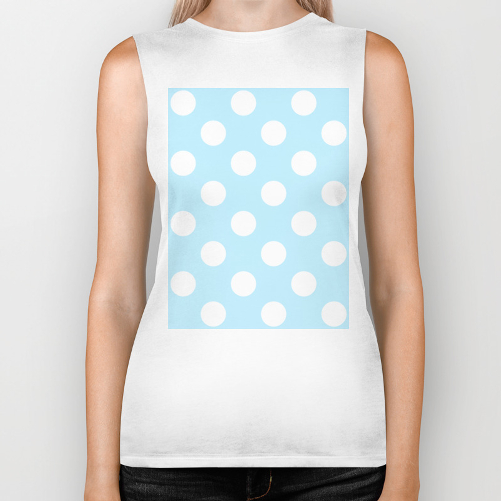 Large Polka Dots - White On Light Blue Biker Tank by Polkadotsshop BKT7762118