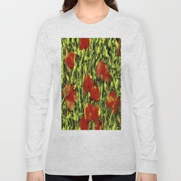 Poppys Van Goth Oil Pastel Art Long Sleeve T-shirt