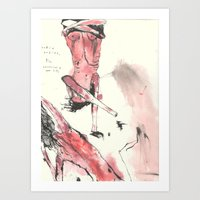 nudes Art Prints featuring nudes by Saffron Lily