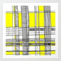 Grid 1 yellow Art Print