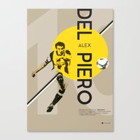 juventus Canvas Prints featuring Del Piero FC Juventus / Serie A Superstar Football Player by Filippo Maniscalco