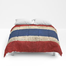 Old and Worn Distressed Vintage Flag of Thailand Comforters