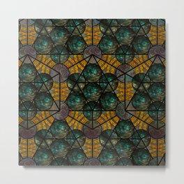 Platonic Solid Icosahedron - Aqua Metal Print