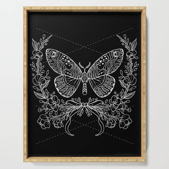 Moth Floral Serving Tray