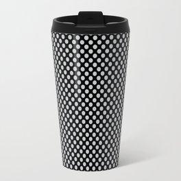 Black and Glacier Gray Polka Dots Travel Mug