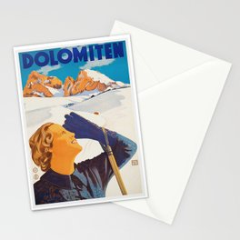 Vintage Dolomites Mountains Italy Travel Poster Stationery Cards