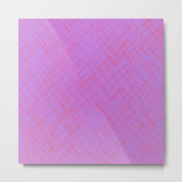 Thatched - Mauve and Hot Pink Metal Print