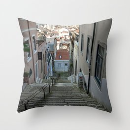 Lisbon stairs Throw Pillow