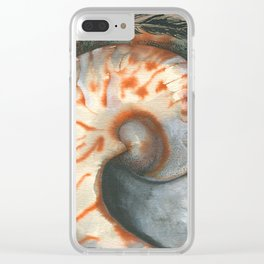 Painted Feather with Tiger Striped Shell Clear iPhone Case