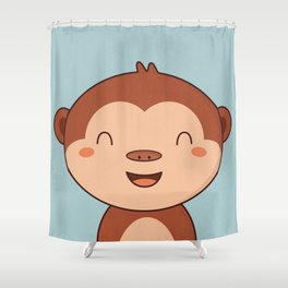 Kawaii Cute Monkey Shower Curtain