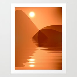 Orange and copper abstract seascape Art Print