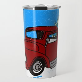 Old Red Christmas Truck In Snow Travel Mug