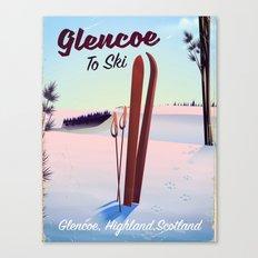 Glencoe Ski Scotland travel poster Canvas Print
