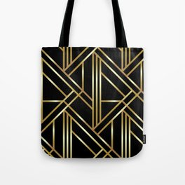 Classic black and gold Art deco pattern Tote Bag