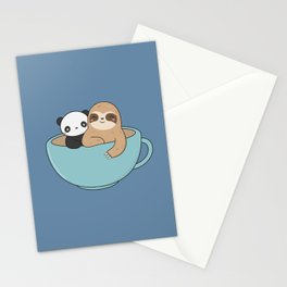 Kawaii Cute Panda and Sloth Stationery Cards