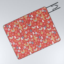 Fairy forest, deer, owls, foxes. Decorative pattern in Scandinavian style on a red background. Folk Picnic Blanket