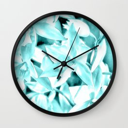Cascading orchids - Teal Wall Clock