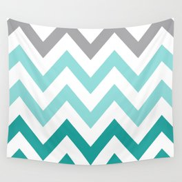 TEAL FADE CHEVRON Wall Tapestry