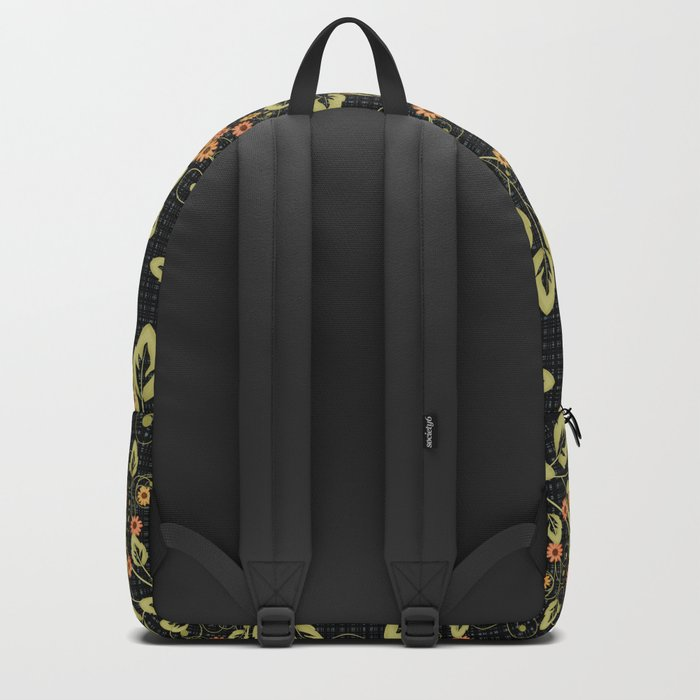 Bright floral pattern on a black background. Backpack