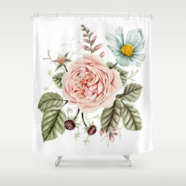 Rose and Foxglove Watercolor Florals Shower Curtain