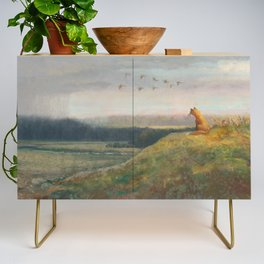 Red Fox Looks Out Over the Valley Credenza
