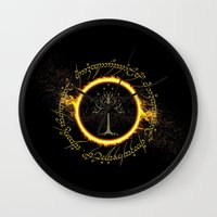 lord of the ring Wall Clocks featuring Lord Of The Ring Circle by Electra