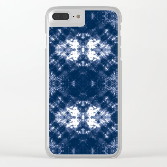Shibori Tie Dye 1 Indigo Blue Clear iPhone Case