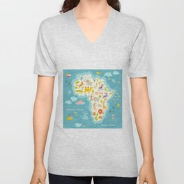 Animals world map, Africa. Beautiful cheerful colorful vector illustration for children and kids. Wi Unisex V-Neck